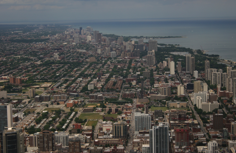 The view from the Willis Tower, looking north.