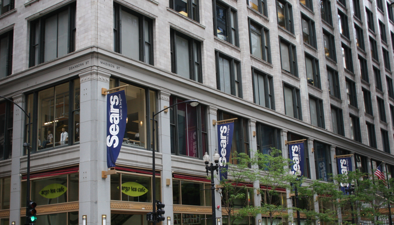 Sears still has some signage at Madison and Dearborn.